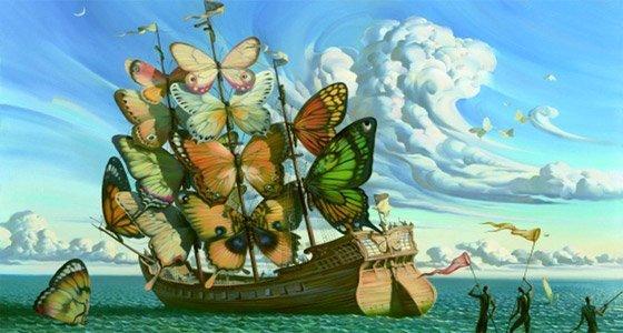 Departure of the Winged Ship di Vladimir Kush